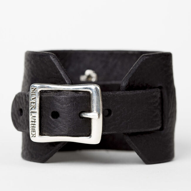Polished M Logo Leather Cuff, , hi-res