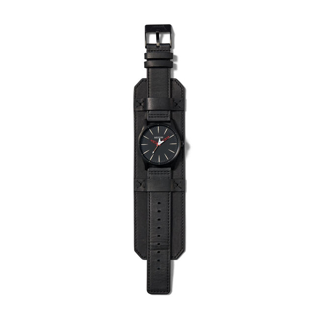 "Sentry Leather ""Seek & Destroy"" Nixon Watch (RED), , hi-res"