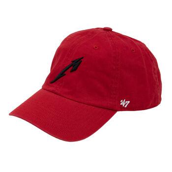 M Logo Garment Wash Red Hat, , hi-res
