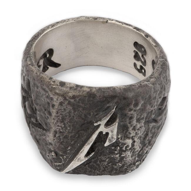 Hammered M Logo Silver Ring, , hi-res