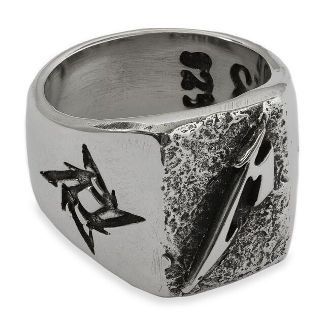 Polished M Logo Silver Ring, , hi-res