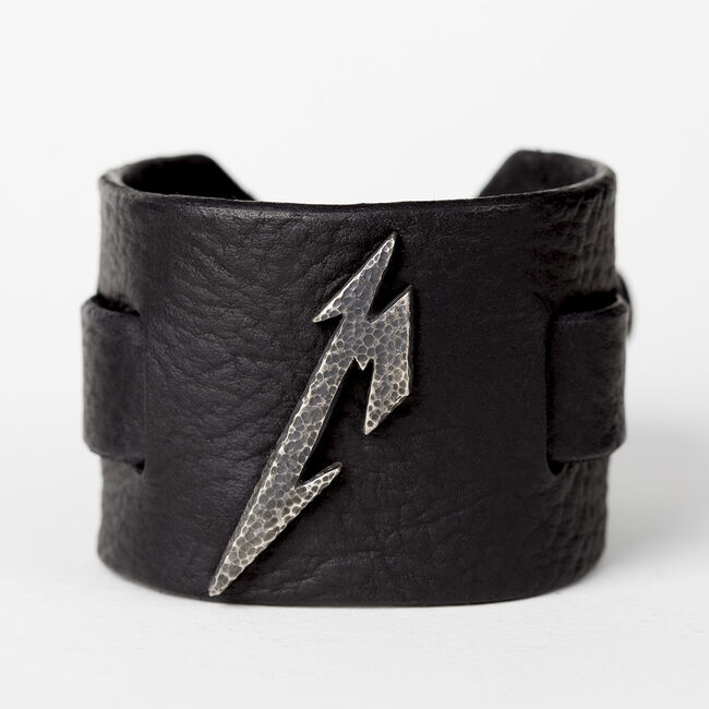 Hammered M Logo Leather Cuff, , hi-res
