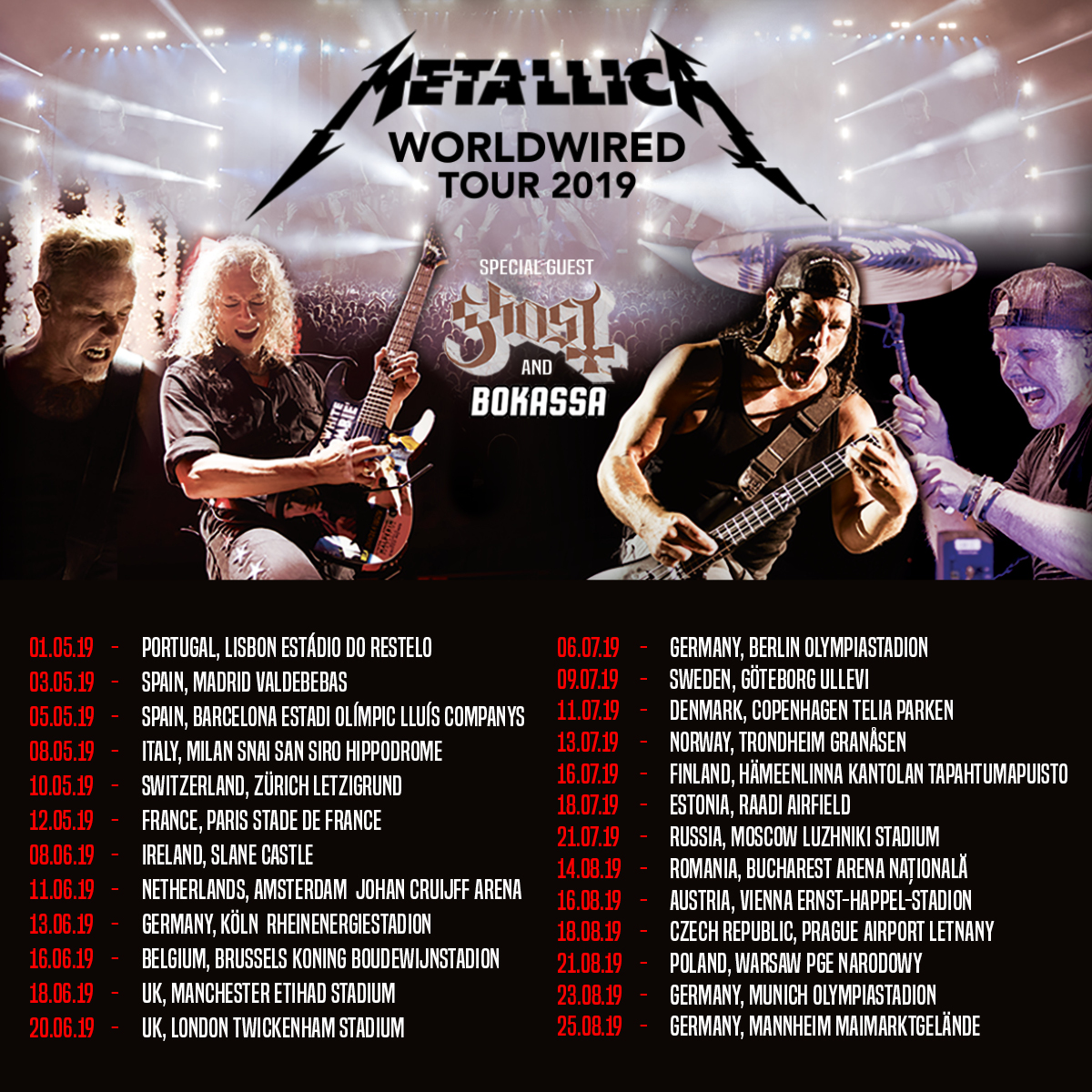 European Summer Vacation 2019 Edition | Metallica com
