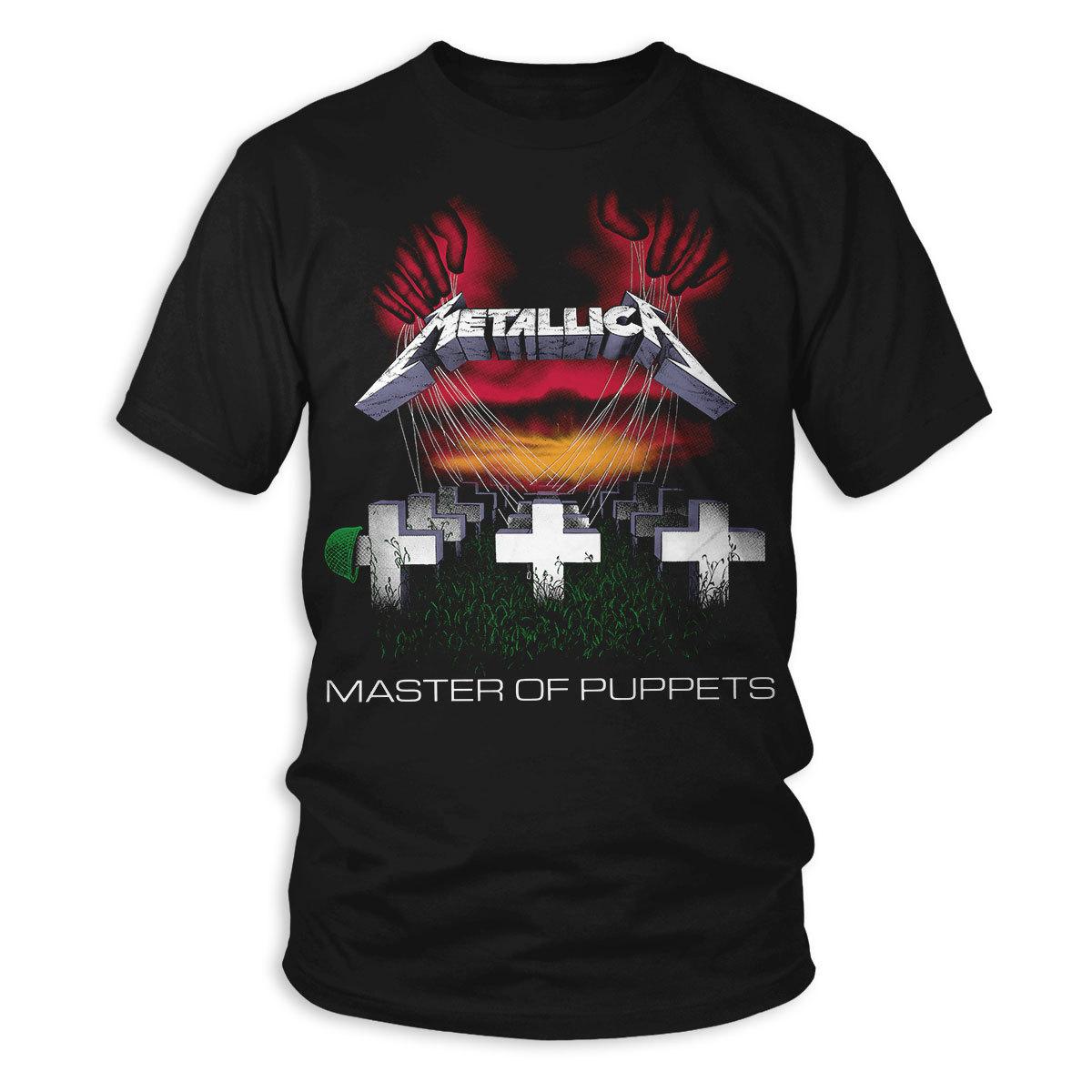 Album Text Official Metallica Men/'s Black T-Shirt